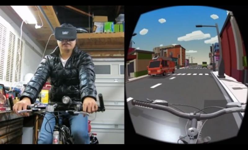Il futuro dell allenamento da ciclismo potrebbe passare per la realtà  virtuale grazie ai visori 3D che immergono l utente in un mondo parallelo  grazie al ... eb559ab59